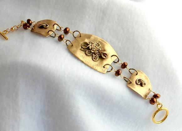 Polished Bronze Floral Bracelet