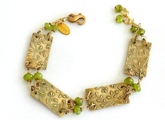 Stamped Plate & Vesonite Bronze Bracelet
