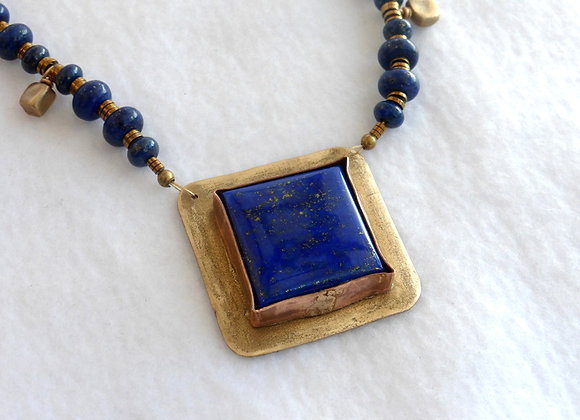 Rustic Blue Lapis and Bronze Necklace