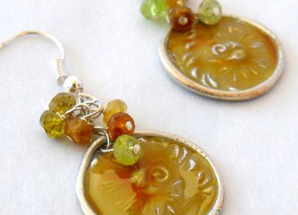 Harvest Gold Enamel Earrings