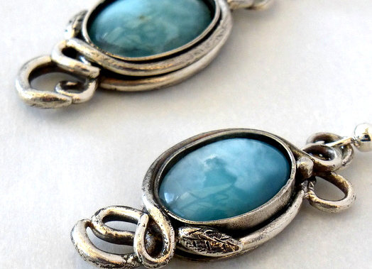 Larimar Cabachon Earrings