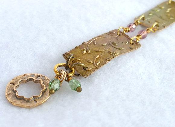 Bronze Spring Green Link Bracelet