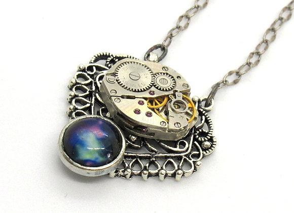 Vintage Feaux Moonstone & Watch Movement Pendant