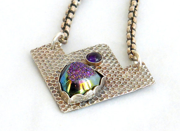 Geometric Pendant with Purple Drusy