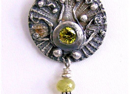 Shield-Style Pendant with Olive CZ