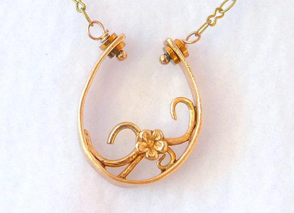 Bronze Coil & Flower Pendant