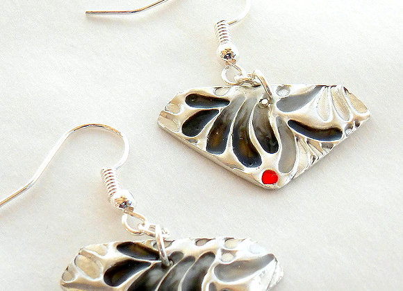 Black and Red Resin Earrings