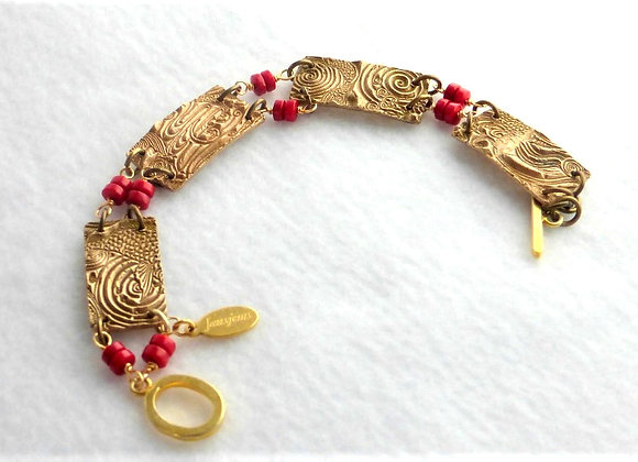 Coral and Bronze Bracelet