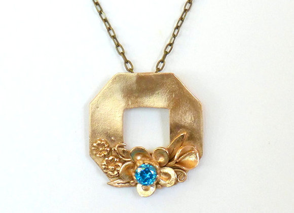 Bronze Wreath with Aqua Blue Gemstone