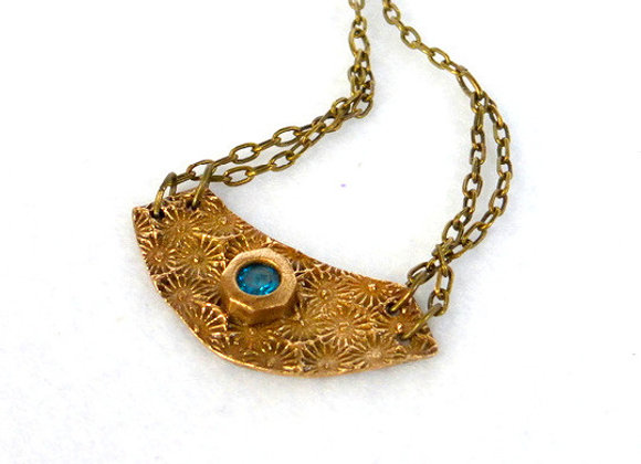 Stamped Pendant with Topaz