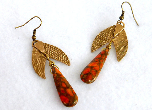 Red Copper Turquoise & Bronze Earrings