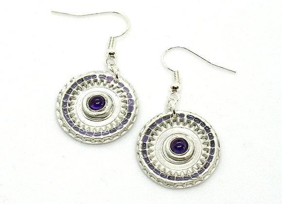 Lilac Resin & Amethyst Earrings