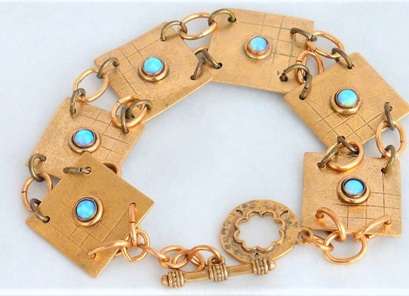 Opal and Bronze Plate Bracelet