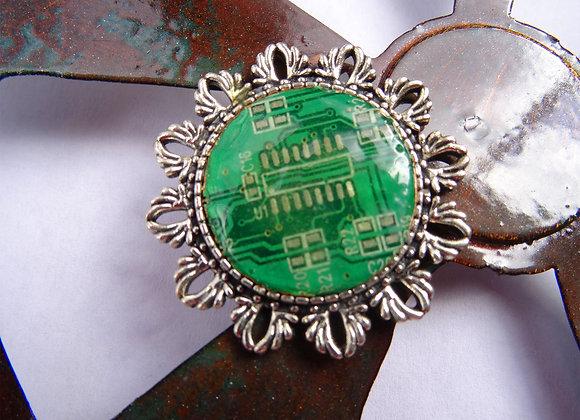 Green Computer Brooch
