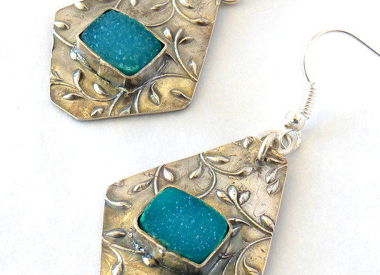 Green Drusy & Textured Earrings