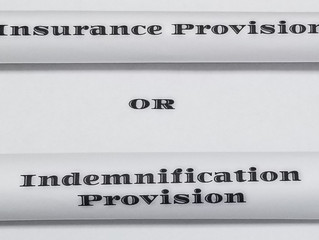 What is the difference between an indemnification provision and an insurance provision in a commerci
