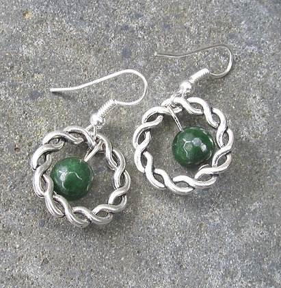 AJ307 Greenstone Pewter Braided Ring Earrings 8mm