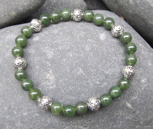 Bead Silver Bracelet 6mm BB3004