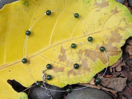 AJ203 Greenstone Floating Bead Necklace 8mm