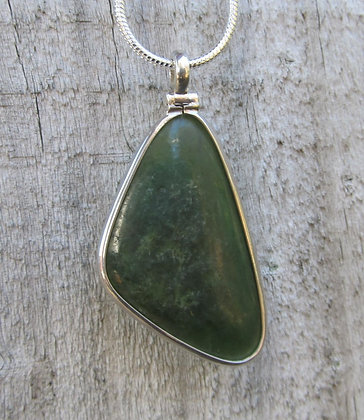 Pounamu Triangle Drop & Sterling Silver