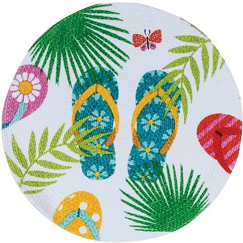 Tropical Flip Flops Braided Placemat