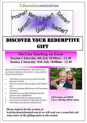 Redemptive Gifts online seminar July 202