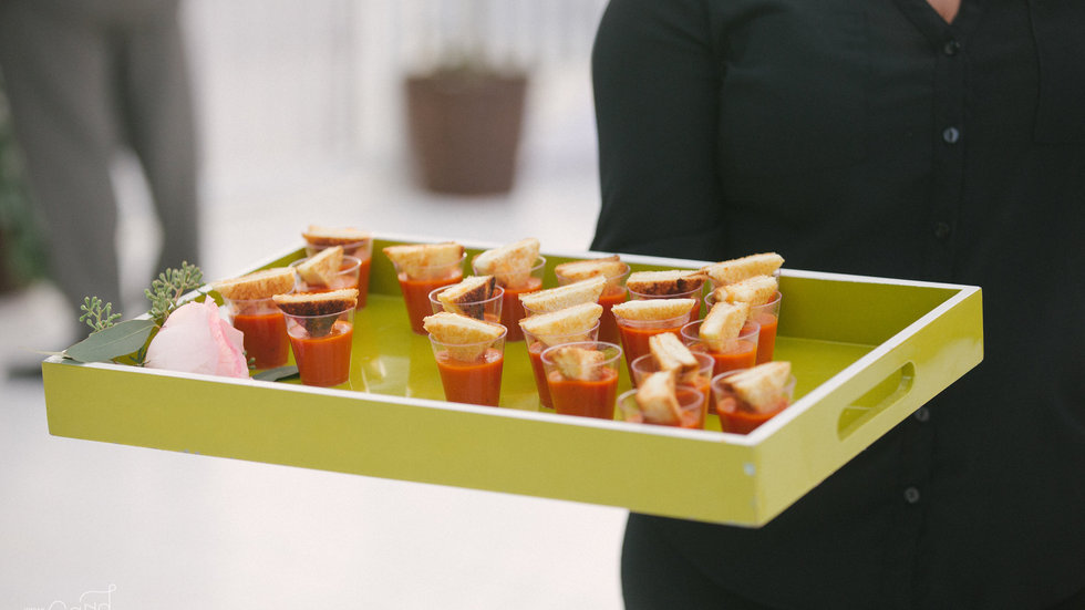 Mini grilled Cheese & Soup Shooters