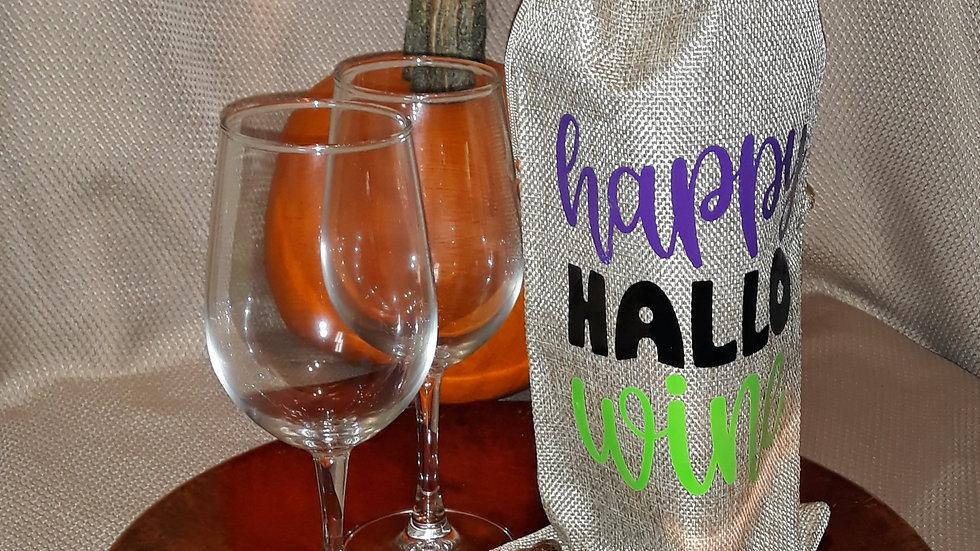 Halloween Burlap Wine Bag