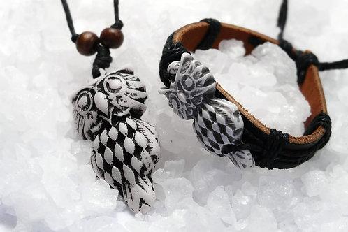 OWLS CARVED BONE NECKLACE & BRACELET