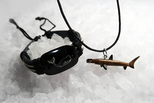 SHARK CARVED FROM WOOD NECKLACE & WHALE BRACELET