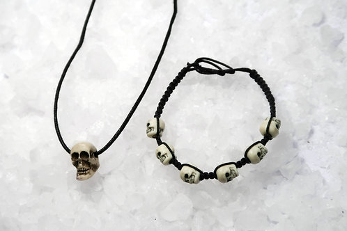 SKULLS CARVED BONE NECKLACE & BRACELET