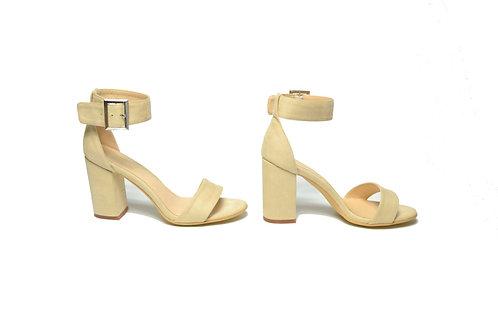 Vivian Beige Block Heel Sandals