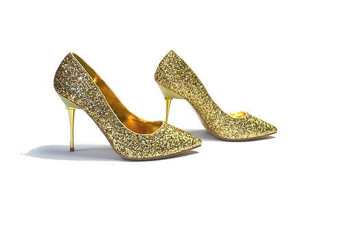Pleaser USA: Gold Glitter Court Shoes