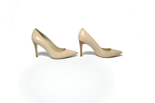 Chelsea Stiletto Heels in Nude Patent Leather
