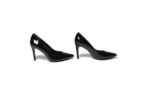 Chelsea Stiletto Heels in Black Patent Leather