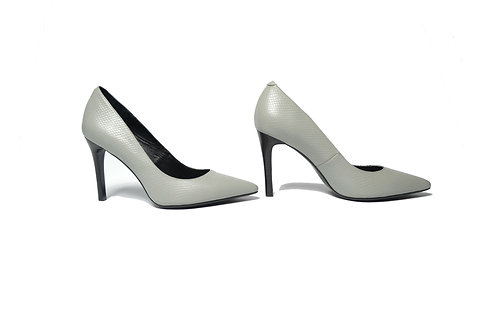 Chelsea Stiletto Heels in Grey Embossed Leather