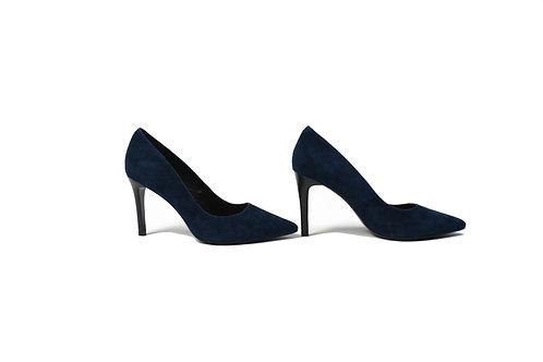 Chelsea Stiletto Heels in Navy Faux Suede