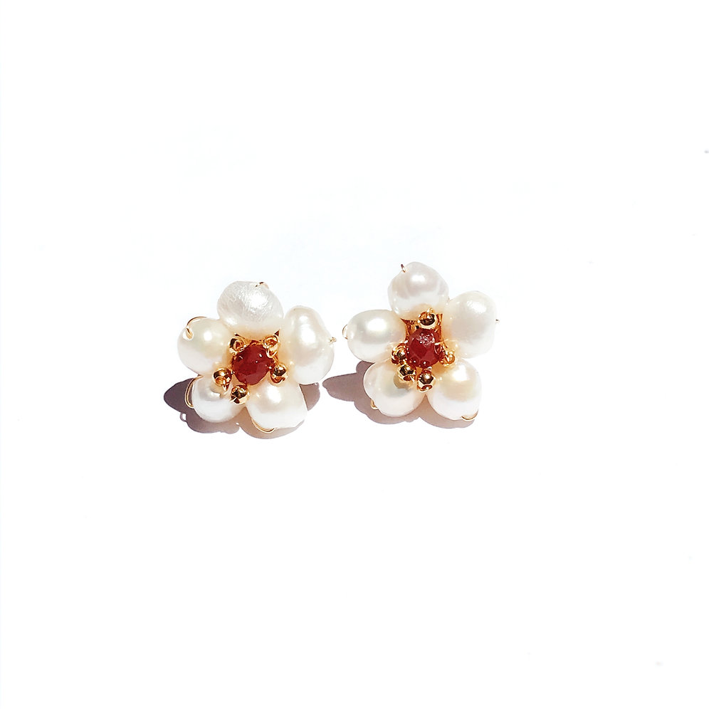 Rosemallows Freshwater Pearl Flower Stud Earrings