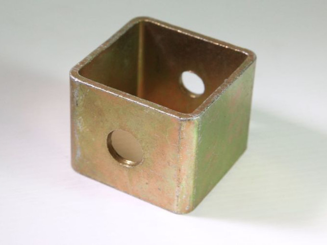Drilled square tube, zinc plated
