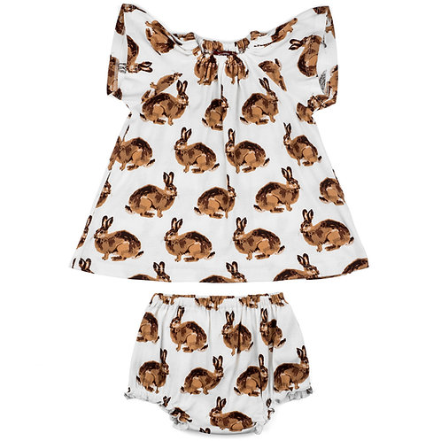 Bunny Organic Cotton Dress & Bloomer Set