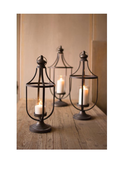 set of 3 metal lanterns with glass insert