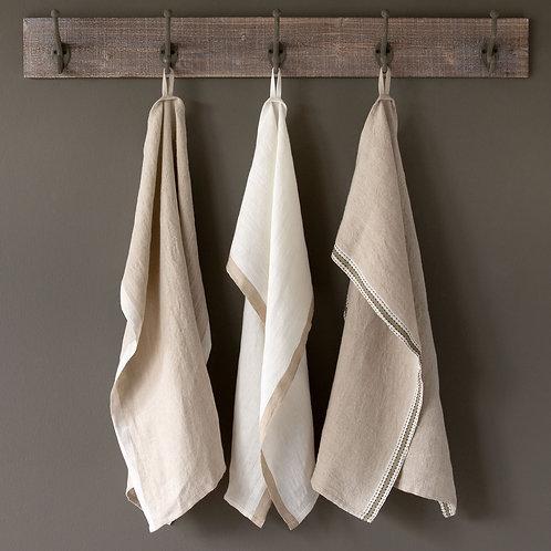 Soft Linen Banded Dish Towels, Neutral Assortment