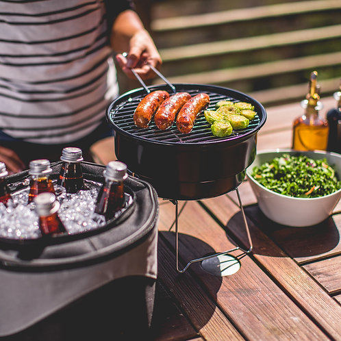 Portable Charcoal BBQ & Cooler Tote