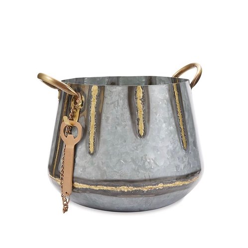TIN & GOLD BEVERAGE BUCKET
