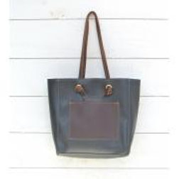 Canoe Black Knotted Handle Tote