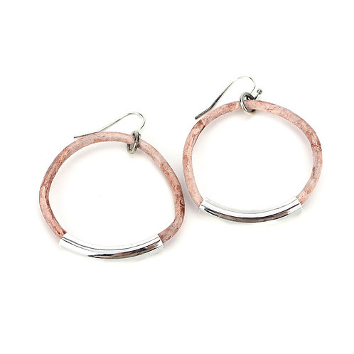 Gold Leather Hoops: Weathered