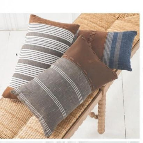 Assorted 19 Inch Rectangular Pillows w/Leather