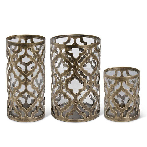 Antique Gold Moroccan Quatrefoil Hurricanes