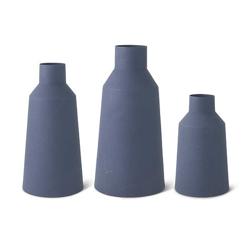 Navy Blue Matte Metal Vases