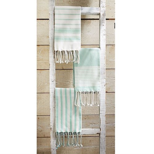 Seafoam & White Turkish Hand Towels